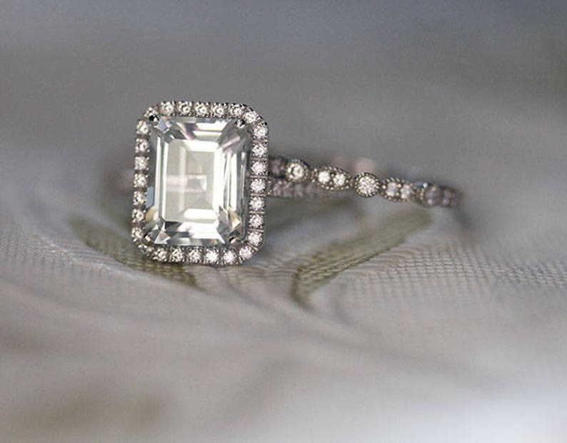 Sterling Silver Diamond Simulant and White Topaz Bridal Ring Set Wedding Ring Set Lab Emerald Cut 10x8mm Engagement Ring and Wedding Band
