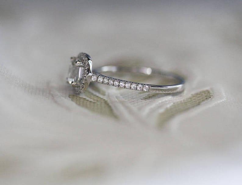 Sterling Silver Ring White Topaz Cushion 6mm Engagement Ring and Diamond Simulant Wedding Band Set Wedding Ring Bridal Ring Set