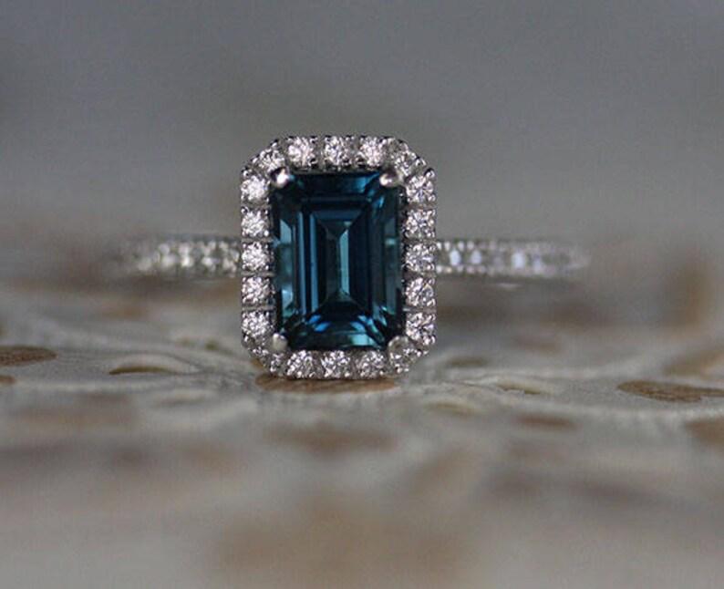 London Blue Topaz Bridal Ring Set in Silver Emerald Engagement Ring Emerald Cut 7x5mm Diamond Simulant in Silver Wedding Ring Set