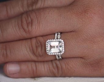 Wedding Ring Set, Sterling Silver Diamond Simulant and White Topaz Bridal Ring Set, Lab Emerald Cut 10x8mm Engagement Ring and Wedding Band