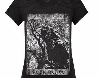 65f6bd59 Women's T-shirt WISDOM Of The Old Asatru Crow Hugin Munin Pagan Thor Odin  Folk Witchcraft Runes Vikings Blackcraft Vanatru Wicca Witches