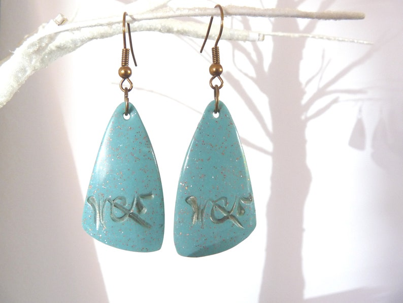 beads polymer clay green graphic Earrings gold texture triangles