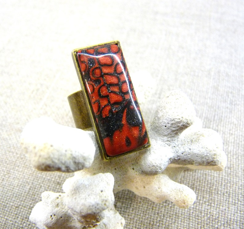 rectangle mokume gane dark metallic red Ring abstract pattern polymer