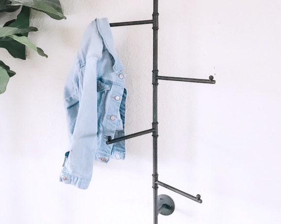 Metal Swivel Hanging Rack | Coat Hanger | Towel Hook | Matte Black | Industrial | Modern Farmhouse | Entryway | Bathroom |  Blanket Ladder