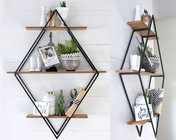 Diamond Book Shelf | Metal & Wood | Geometric | Open Shelving | Handmade | Urban Outfitters inspired