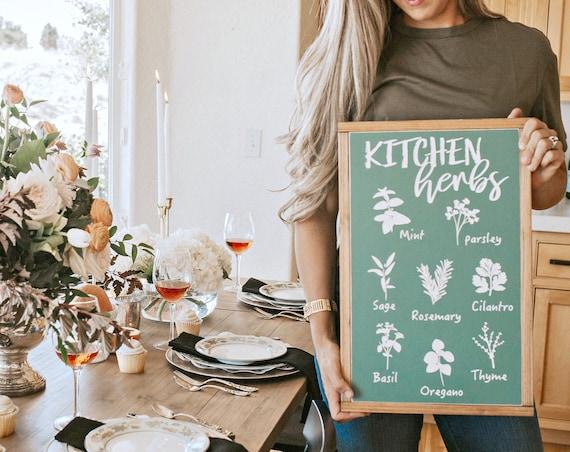 Kitchen Herbs   Farmhouse Kitchen Decor   Herb Sign - Print   Kitchen Wall Art   Green Chalkboard Sign   Kitchen Printable   Botanical 13x20