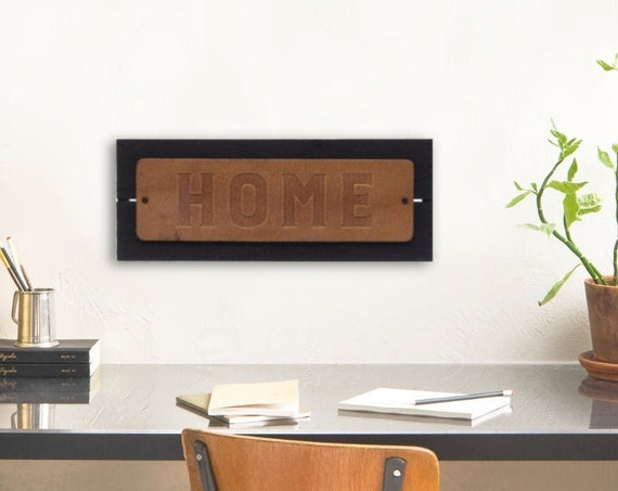 "Wood & Leather ""HOME"" Sign 