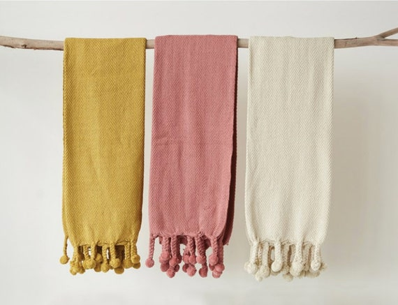 "60""L x 50""W Cotton Throw w/ Pom Pom, 3 colors: Mustard, Rose, Cream"