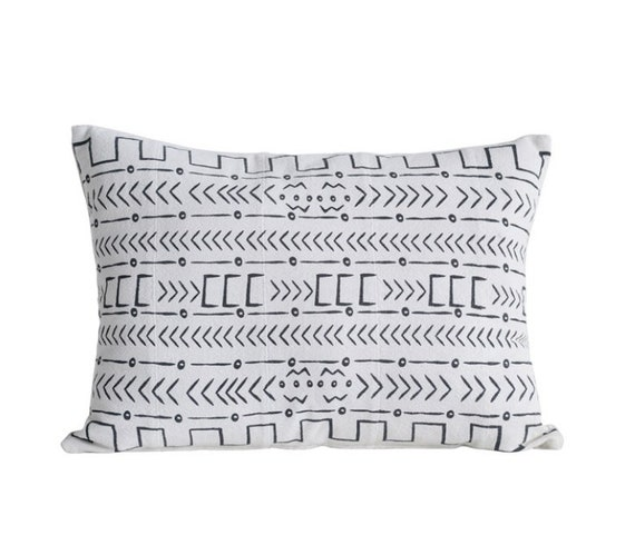 "Mudcloth Pattern Cotton Pillow, Natural & Black, 30""L x 22""H"