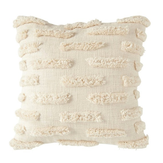 "Square 20"" Woven Cotton Pillow with Fringe"