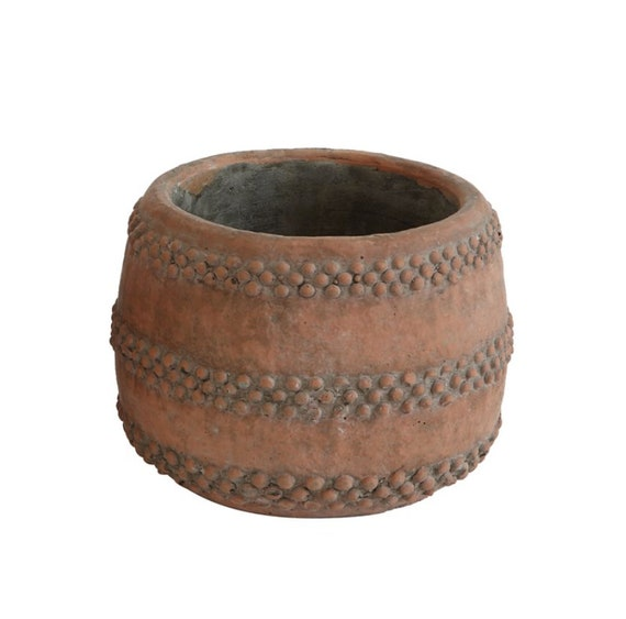 "Cement Pot, Terra-cotta Color, 5"" Round x 4-3/4""H"