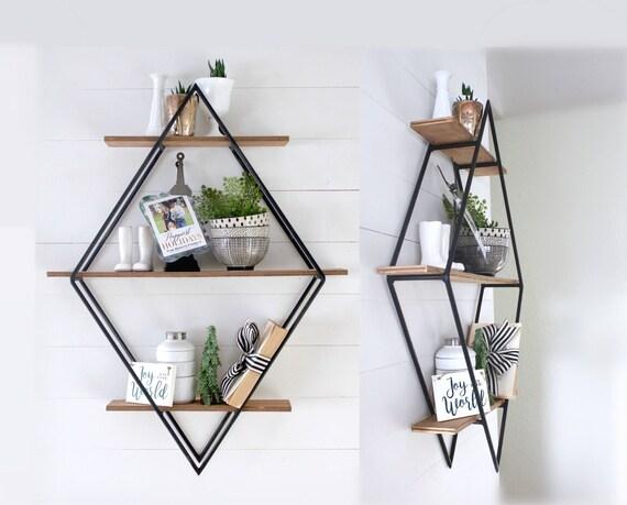 Diamond Book Shelf Metal Wood Geometric Open Shelving