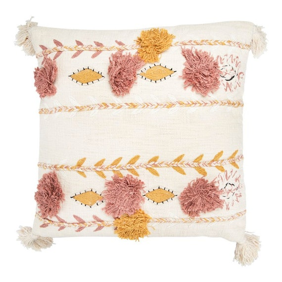 "Square 20"" Cotton Embroidered Pillow w/ Tassels & Applique, Cream Color"