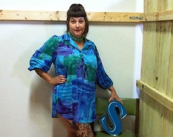 bd47b699e1a SALE 80s Top notch vintage plus size tunic galaxy shirt mini dress XL 18  colorful boho fashion plussize VTG retro flowy oversized cool color