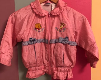 1cec97c5d83 80s vintage Winnie the Pooh swishy jacket baby pink kids windbreaker purple  ruffles bows zipup Tiger 4T 90s retro VTG toddler fashion Disney