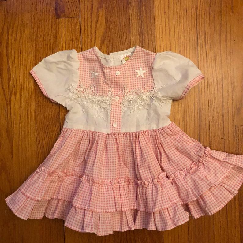 15b0362f0 80s vintage little girls dress pink gingham cowgirl lid l