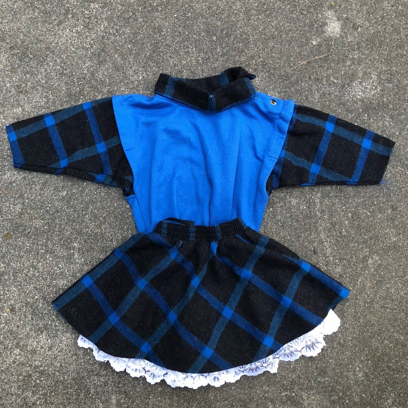 5653a928bda7 80s vintage girls outfit blue plaid skirt longsleeve top 2T