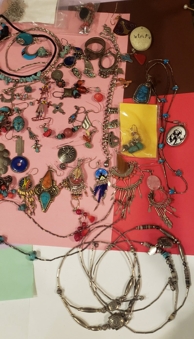 faux Vintage mixed items coral lot of real turquoise sterling