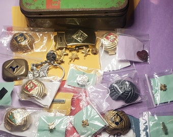 Vintage lot of box scout items, with first aid kit