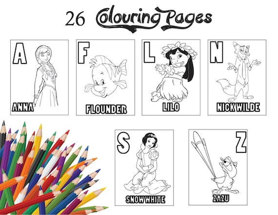 26 Pages Disney Characters Alphabets Children Colouring Pages Etsy
