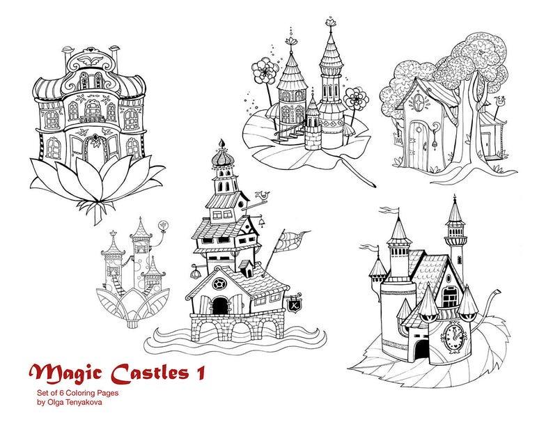 Coloriage De Chateaux.Coloriage Magie Chateaux Jeu De Pages De Coloriage Imprimable 6 Instant Pdf Telecharger