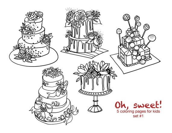 Coloring Sweet Cakes / Set Of 5 Printable Colouring Pages / Etsy