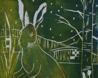 Bunny-Easter-nature-landscape-print-Woodcut-printgraphic-Original Woodblock print-contemporary Woodcut