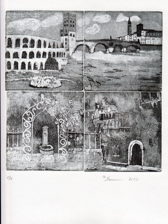 Etching Limited Edition Romeo /& Juliet Original Etching Italy Verona