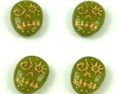 4pcs Czech Pressed Glass Beads - Skull - 16x13mm - Green Pea Gold - 53420-54302 (CZB-61)