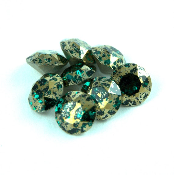 6pcs 14mm  Rivoli chaton crystal glass fancy stone cabochons GREEN