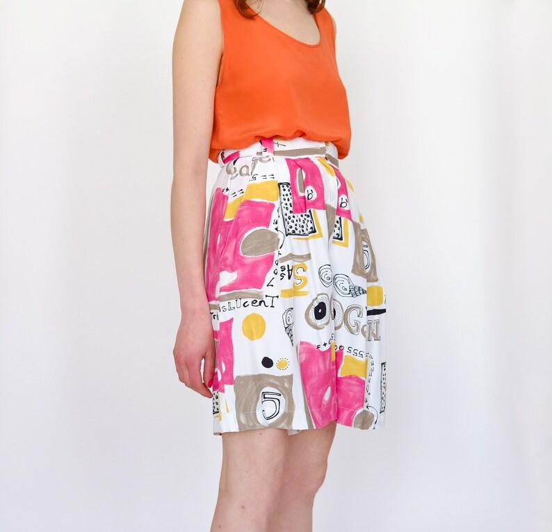 90s floral pattern highwaist summer shorts graphic pattern S 36