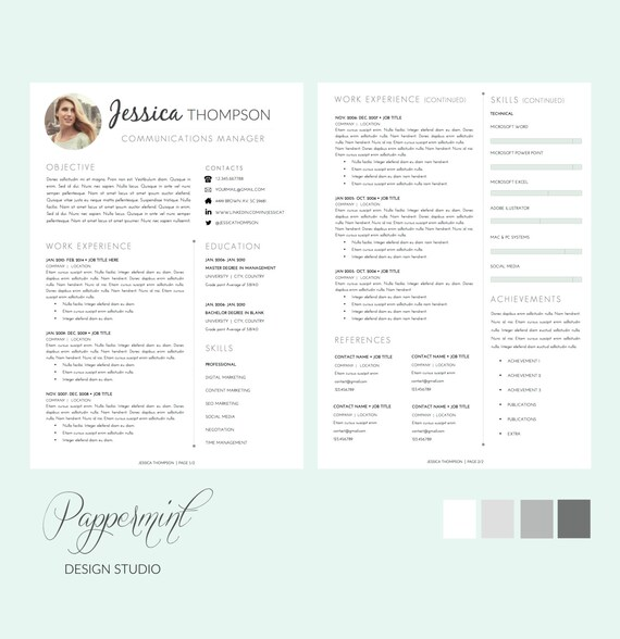 Resume Template (1, 2 or 3 pages) with Cover Letter and photo for WORD