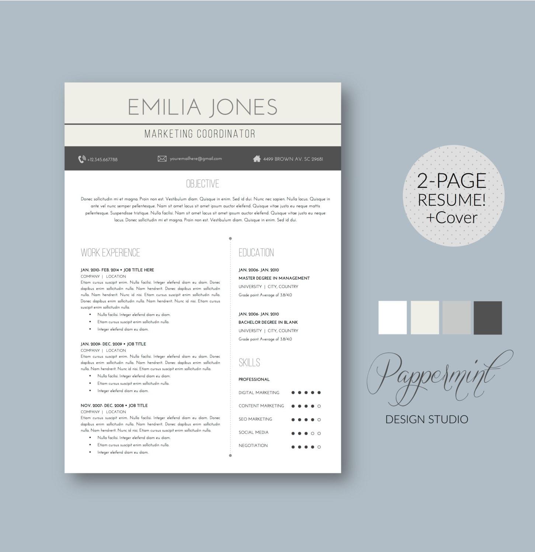 Plantilla para CV y Cover Letter para WORD | Etsy