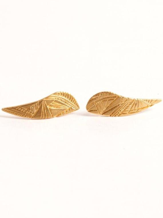 Engraved Earrings Gold Ear Climber Boho Earring Golden Ear Cuff Golden Stud Earrings Ear Pins Ear Sweep Ear Crawlers
