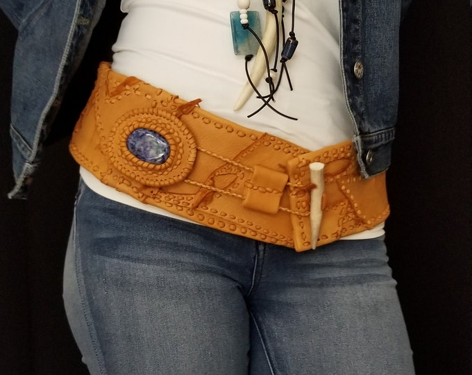 Caramel Color Leather belt with Blue stone.