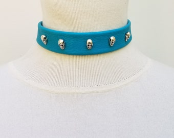 Turquoise Choker with Skulls
