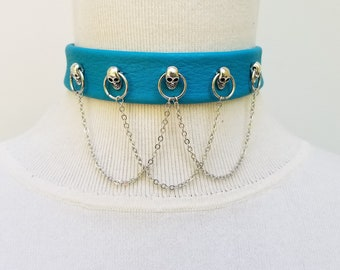 Turquoise Skull and Chain Choker