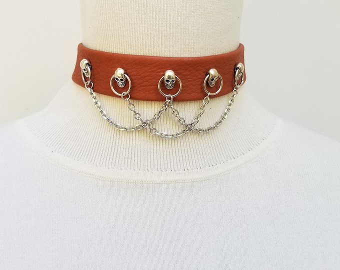 Light Brown Skull and Chain Choker