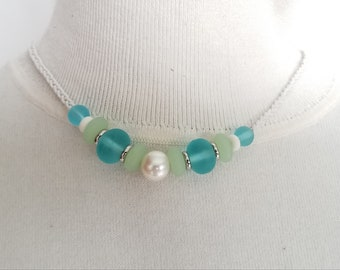Large Pearl and Sea Glass Bead Necklace