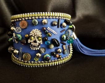 Mystery Blue Leather Cuff