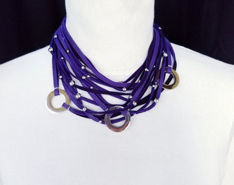 Deep Purple 3 Ring Multi Strand Necklace