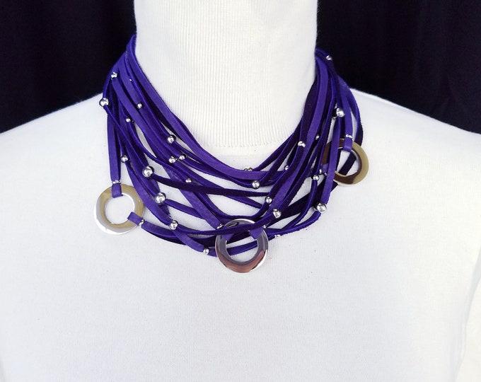 Deep Purple 3 Ring Multi Strand Necklace