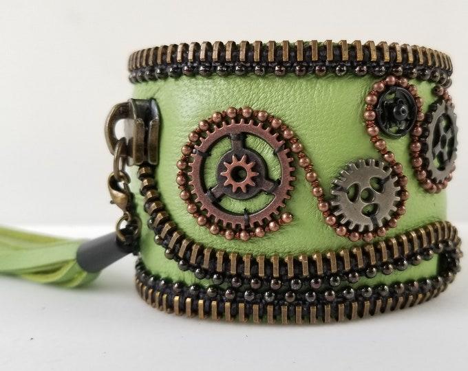 Green steampunk Leather Cuff