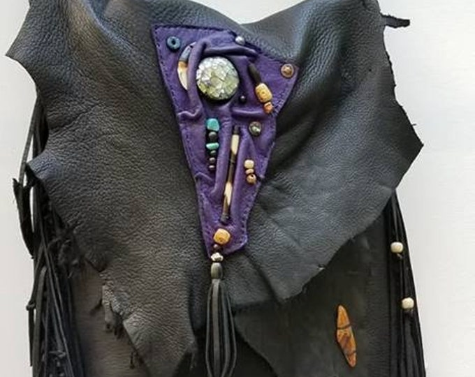 Black and Purple Deer Hide Leather Bag
