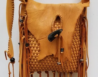 Deer Hide  Fringe Leather Bag. Hippie Bag, Boho Bag.