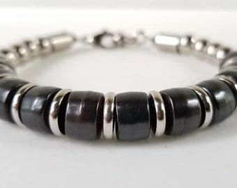 Ox and Stainless steel Bracelet , men's bracelet