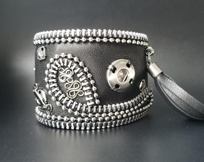 Black steampunk leather cuff