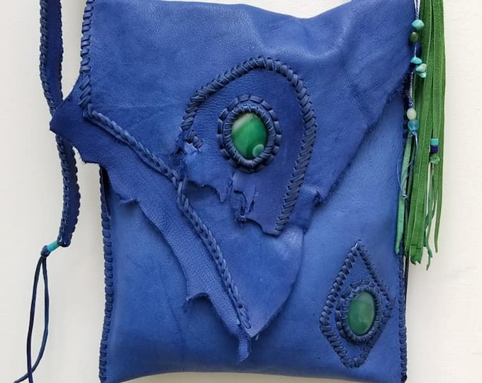 Large Blue Leather Bag and Green Lace Agate. Blue Boho Leather Bag