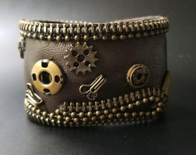 Steampunk Brown Leather Cuff