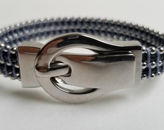 Buckle Light blue Leather Bracelet